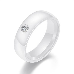 Fashion Jewelry 6mm Black White Ceramic Ring Plain Cubic Zirconia Couple Wedding Band