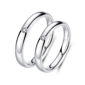 Jewelers Classical Simple Plain Tungsten Steel Cubic Zirconia Wedding Band Ring