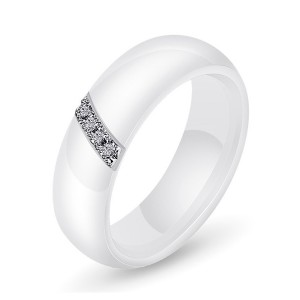 Women's Ceramic Slanting Rod Zircon Engagement Wedding Band Ring Black White