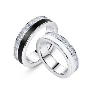 Discount wholesale Tungsten Carbide 2mm Ring - Hot Sell Jewelry Mens Black or White Resin and CZ Stones Inlay Tungsten Ring – Ouyuan