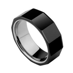 OEM Fashion Jewelry Wholesale Men Black Ceramic Ring With Facets Design