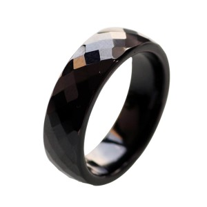 Ceramic Wedding Bands For Women Black Polished Finish Faceted Wedding Ring Comfort Fit