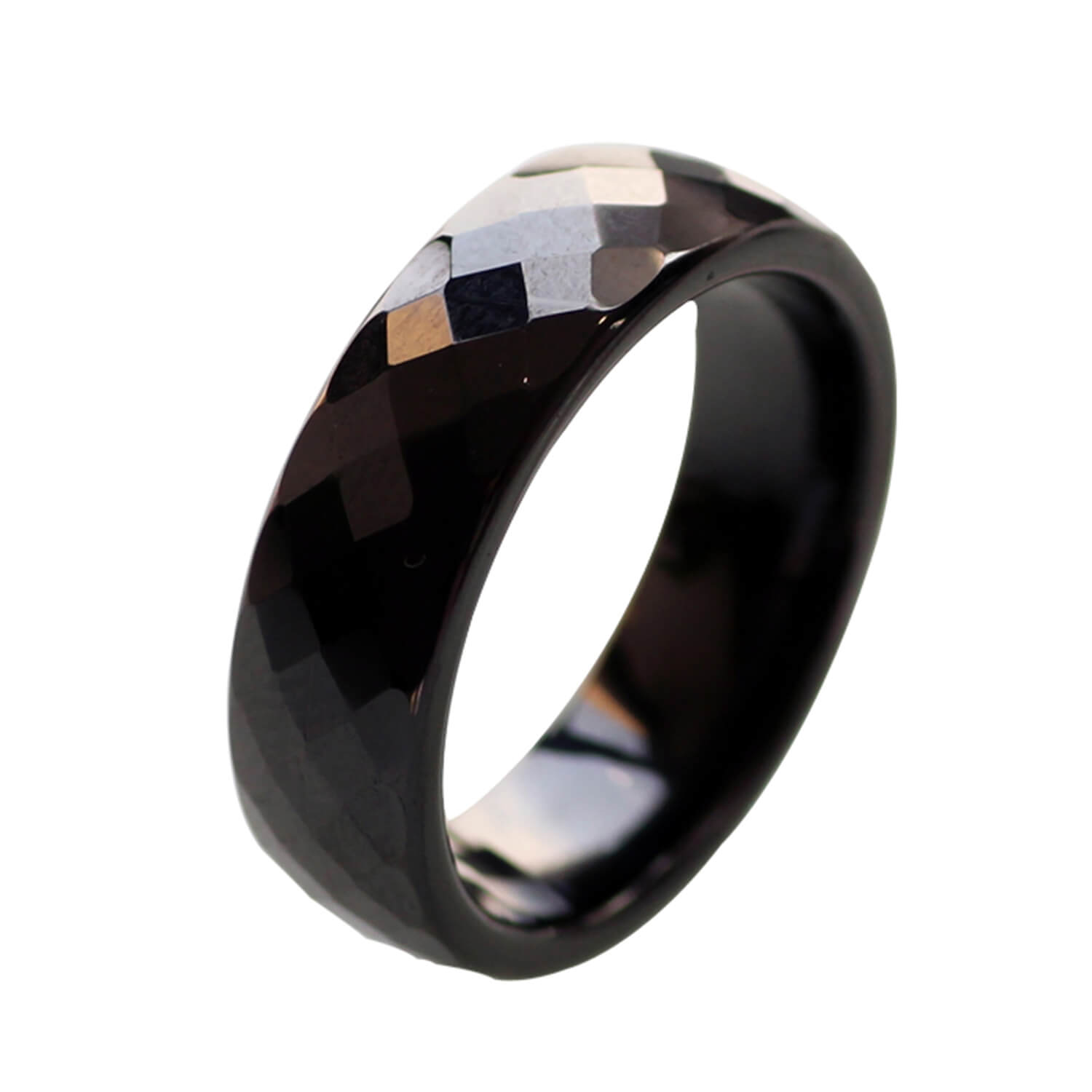 Ceramic Wedding Bands For Women Black Polished Finish Faceted Wedding Ring Comfort Fit Featured Image