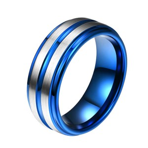 Factory Promotional Black And Blue Rings - Western Style Fashion Jewelry Mens Ring Designs Blue Groove Line For Men Tungsten Ring – Ouyuan