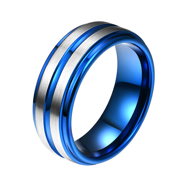 OEM/ODM China Tungsten Carbon Fiber Ring - Western Style Fashion Jewelry Mens Ring Designs Blue Groove Line For Men Tungsten Ring – Ouyuan