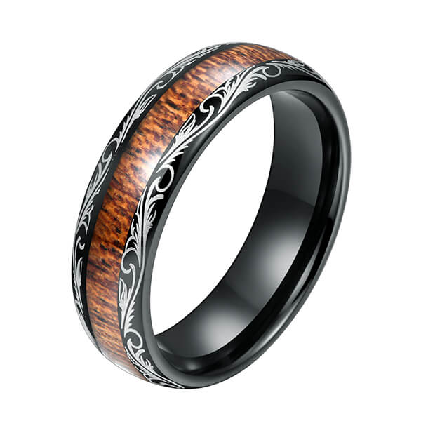 New Fashion Design for Tungsten Rings Yellow Gold - Men's Black Tungsten Carbide Wedding Band Wood Inlay Floral Design Engagement Ring – Ouyuan