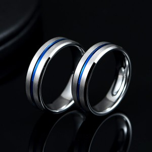 Blue Groove 8mm High Polish Tungsten Carbide Wedding Band Engagement Ring For Men Comfort Fit