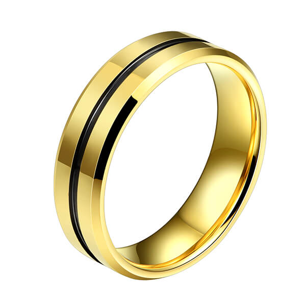 New Arrival China Cheap Wedding Rings - Wholesale Men Jewelry 18K Gold Plated Black Grooved tungsten Carbide Steel Rings – Ouyuan