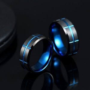 Single New Design Black & Blue Plated Genuine Tungsten Carbide Rings