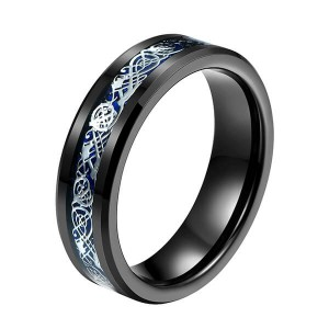 Hot Selling for Meteorite Tungsten Ring - 6mm 8mm Steampunk Gear Wheel Blue Carbon Fiber Black Tungsten Single Ring – Ouyuan
