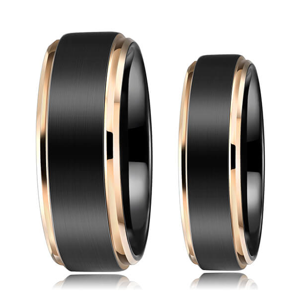 Leading Manufacturer for Tungsten Ring Worth - 6mm 8MM Black Tungsten Carbide Ring Matte Brushed Wedding Band Rose Gold Plated Beveled Edge – Ouyuan detail pictures