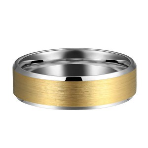 6mm Tungsten Ring Wedding Band for Men Women Silver Beveled Edge & 18K Gold Rings Comfort Fit