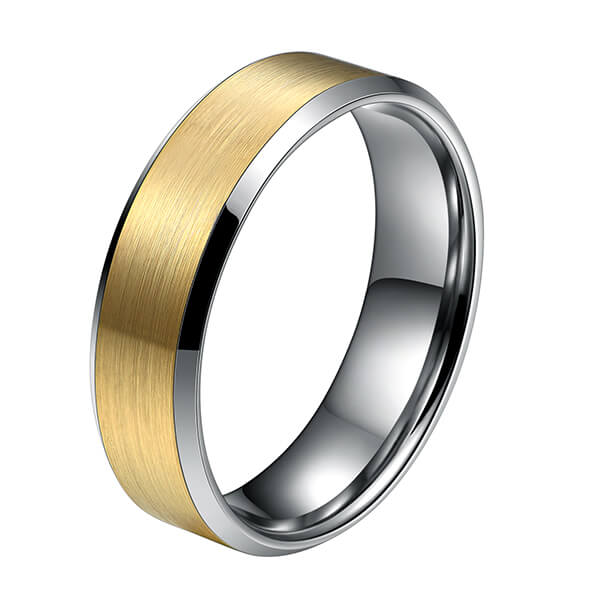 Reasonable price Tungsten Carbide Wedding Rings Uk - 6mm Tungsten Ring Wedding Band for Men Women Silver Beveled Edge & 18K Gold Rings Comfort Fit – Ouyuan